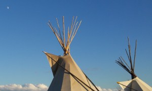 tipi and moon